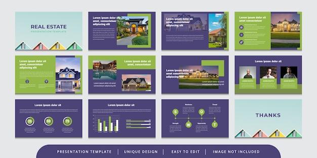 Modello di presentazione powerpoint modificabile diapositive immobiliari minime Vettore Premium