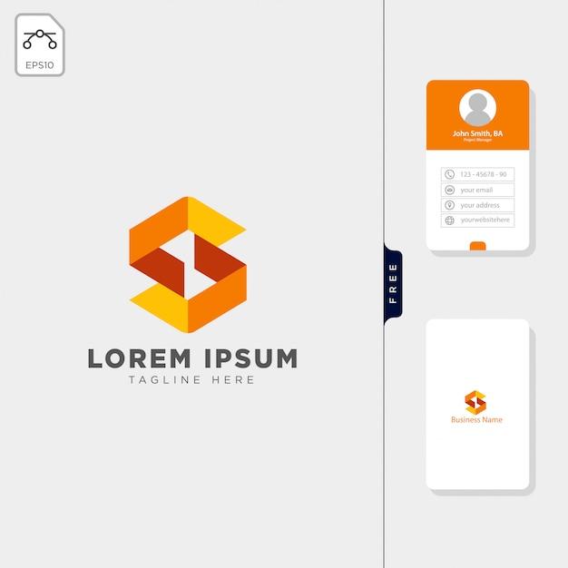 Modello di logo iniziale minimale s design biglietto da visita gratuito Vettore Premium
