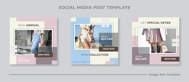 Modello minimo di post banner sui social media Vettore Premium