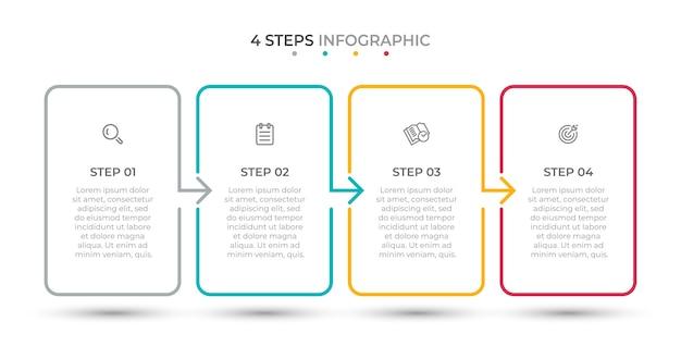 Opzioni o passaggi del modello 4 di infografica linea sottile minima Vettore Premium