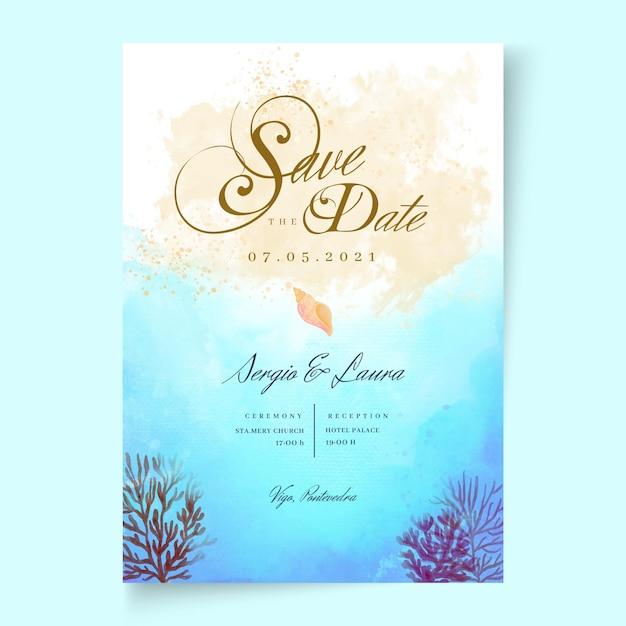 Partecipazione di nozze minima Vettore Premium