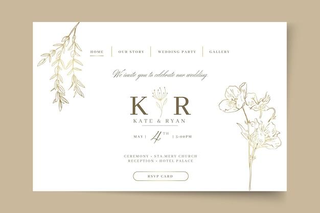 Pagina di destinazione del matrimonio minima Vettore Premium