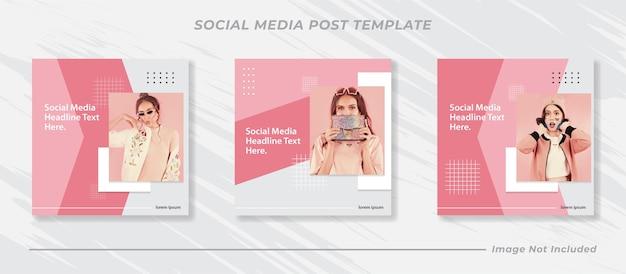 Minimalis social media post template collection instagram fashion Vettore Premium