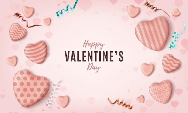 Fondo felice di giorno di biglietti di s. valentino di minimalismo. Vettore Premium