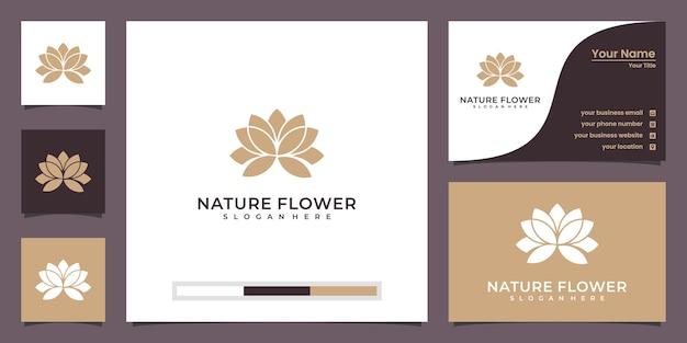 Fiore di loto di bellezza minimalista con logo di lusso cornice e biglietto da visita Vettore Premium