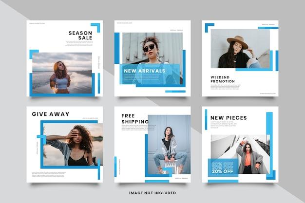 Collezione di modelli di post sui social media blu minimalista Vettore Premium
