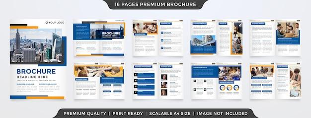 Modello di brochure minimalista con uno stile pulito Vettore Premium