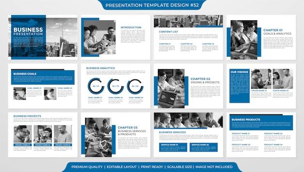 Modello di layout di presentazione aziendale minimalista Vettore Premium