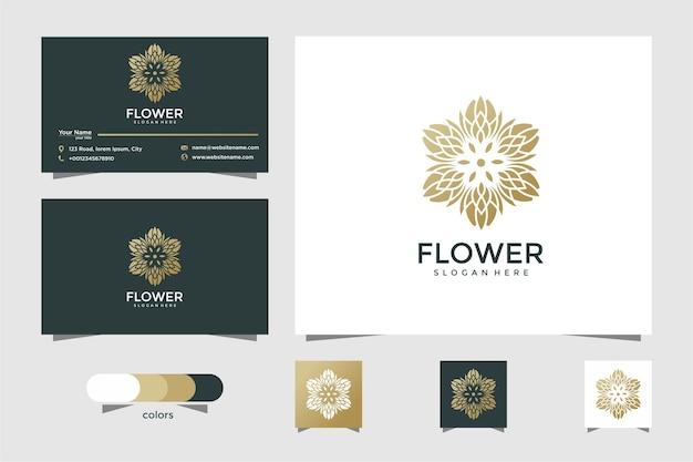 Logo floreale elegante minimalista per bellezza, cosmetici, yoga e spa. design del logo e biglietto da visita Vettore Premium