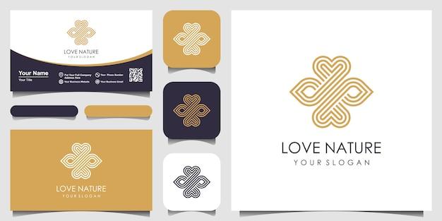 Minimalista elegante foglia e simbolo amano il logo con stile art linea. logo per bellezza, cosmetici, yoga e spa. logo e biglietti da visita. Vettore Premium