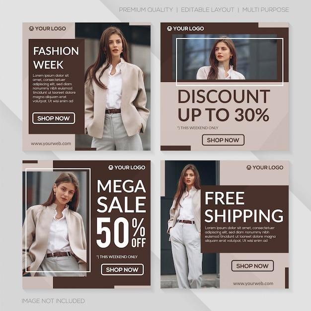 Modello di post vendita moda minimalista Vettore Premium