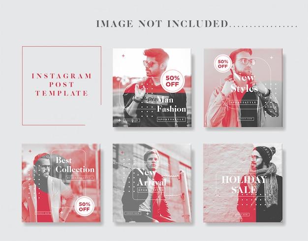 Collezione di modelli post uomo minimalista moda instagram Vettore Premium