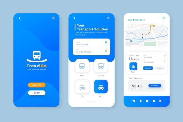 App per smartphone minimalista per modello di trasporto pubblico Vettore Premium