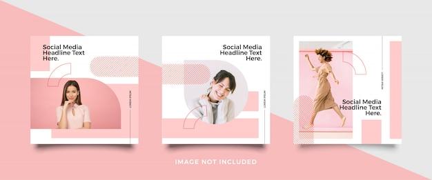 Raccolta di modelli di post social media minimalista Vettore Premium