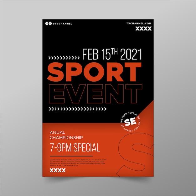 Modello di poster di evento sportivo minimalista Vettore Premium