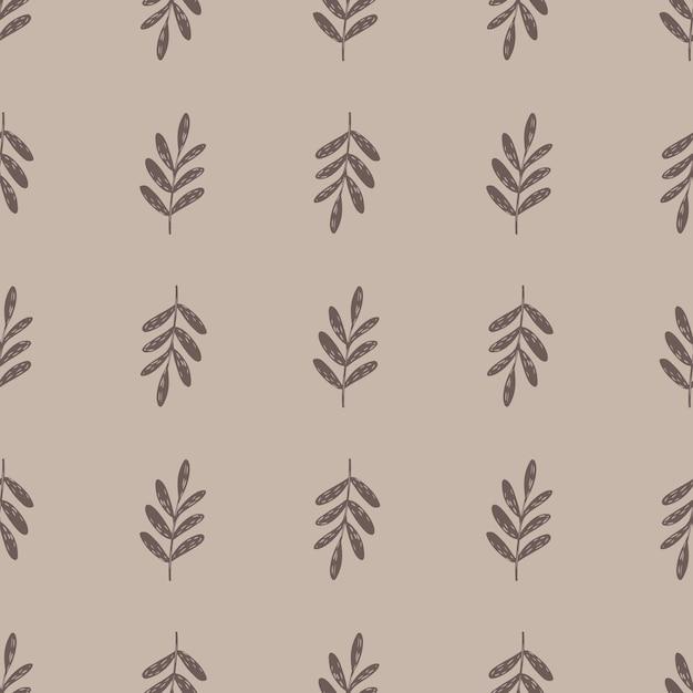 Modello botanico senza cuciture minimalista con sagome di rami semplici. sfondo pastello. Vettore Premium