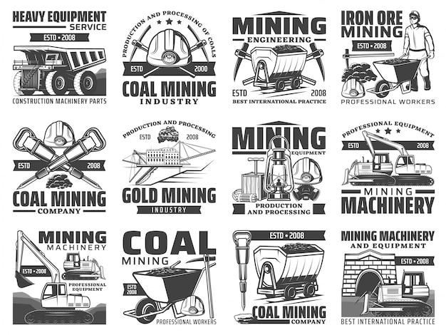 Icone di strumenti, macchinari e attrezzature per l'industria mineraria. minatore, casco, piccone e martello, ferro, carbone e miniera d'oro escavatore, autocarro con cassone ribaltabile e dinamite, bulldozer e simboli del carrello Vettore Premium
