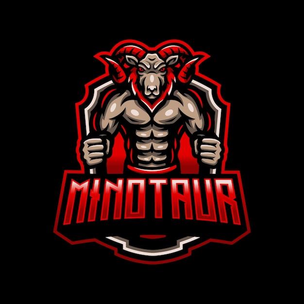 Minotauro capra ram mascotte logo esport gaming Vettore Premium