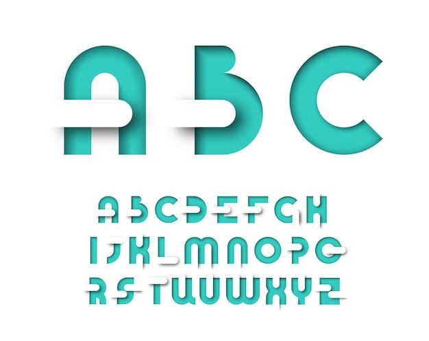 Tipo di layout grafico colore menta. alfabeto decorativo per poster, pubblicità, riviste. Vettore Premium