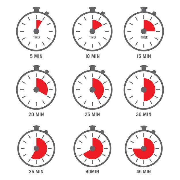 Icona dei minuti. ora orologio simboli volte minuti numeri giorno cinque raccolta. Vettore Premium