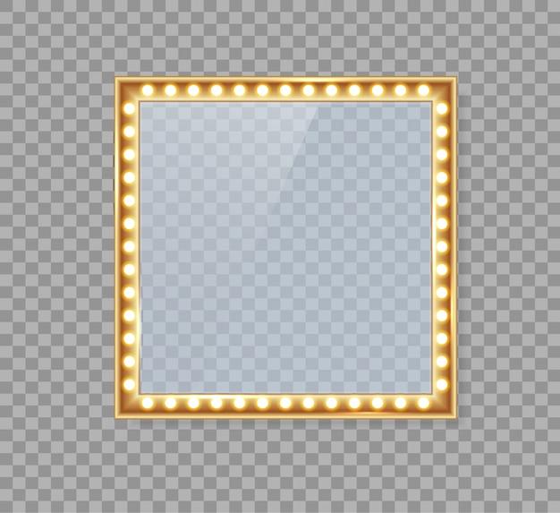 Specchio in cornice con luci dorate con luci per il trucco in spogliatoio o dietro le quinte. Vettore Premium