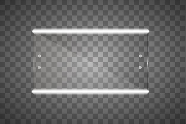 Specchio isolato con luci. illustrazione Vettore Premium