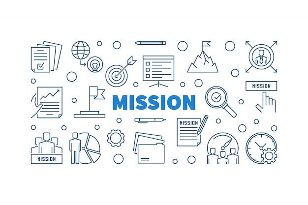 Insegna orizzontale del profilo blu del profilo di missione Vettore Premium
