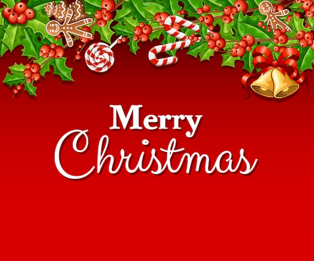 Vischio con foglie verdi e due jingle bell con fiocco rosso decorazione natalizia illustrazione su sfondo rosso con posto per il testo Vettore Premium