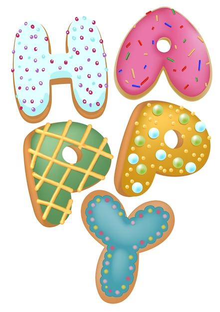 Ciambella di colore misto felice insegne, vista dall'alto, per negozio di panetteria presente, concetto di buon compleanno. Vettore Premium