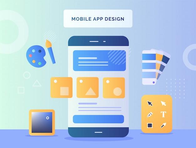 Forma del concetto di design di app per dispositivi mobili su sfondo dello schermo dello smartphone, gli strumenti progettano il pallet del pennello di colore con stile piatto Vettore Premium