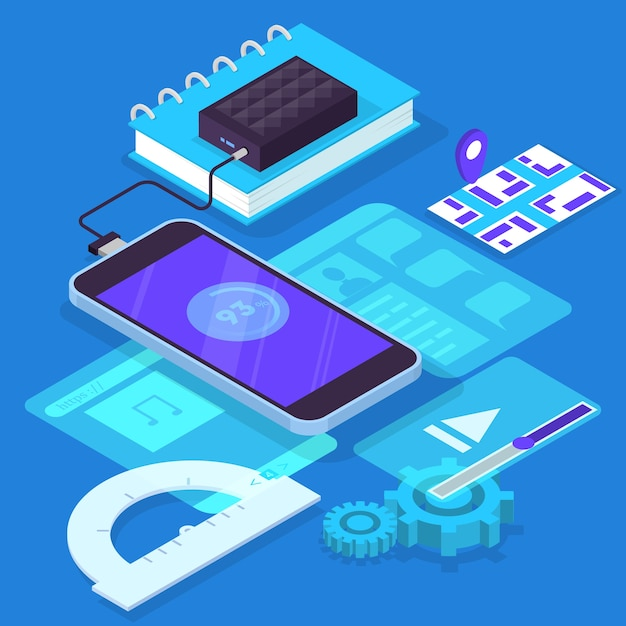 Concetto di sviluppo di app per dispositivi mobili. tecnologia moderna e interfaccia per smartphone. creazione e programmazione dell'applicazione. illustrazione isometrica Vettore Premium