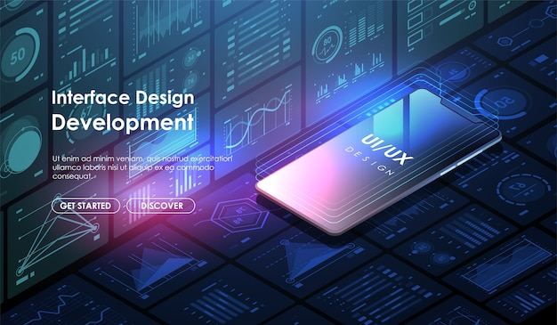 Sviluppo di app per dispositivi mobili e. progettazione dell'interfaccia utente concettuale ui / ux. sito web del modello di layout. Vettore Premium