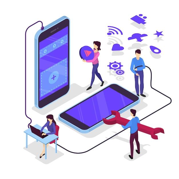 Illustrazione di sviluppo di app per dispositivi mobili Vettore Premium