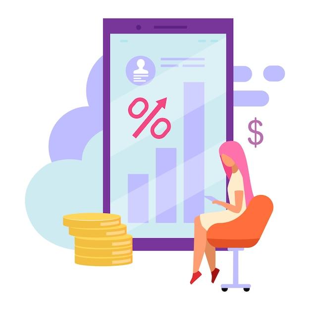 Illustrazione piana del saldo del conto bancario mobile. Vettore Premium