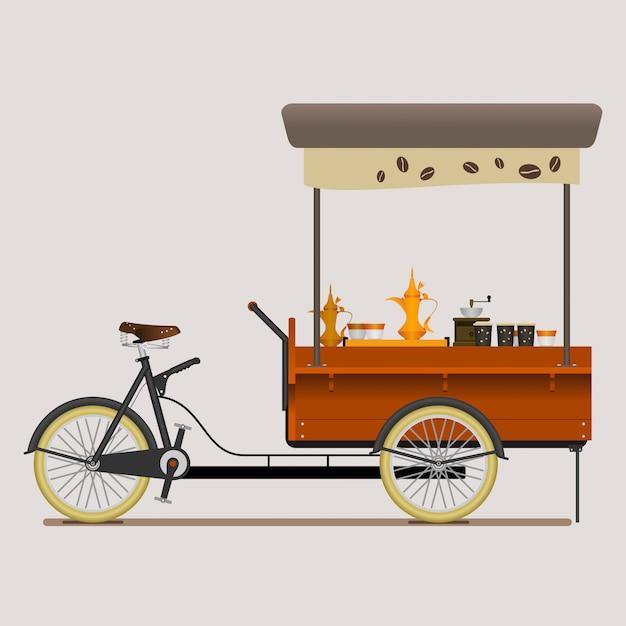 Mobile coffee bike shop con arabian brewing style Vettore Premium