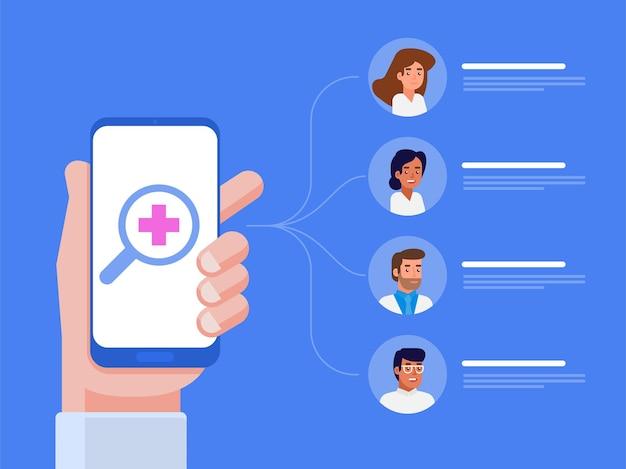Applicazione medica mobile. concetto in linea del medico. illustrazione piatta Vettore Premium