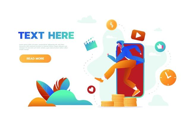 Pagina di destinazione del sito web dell'applicazione musicale mobile Vettore Premium