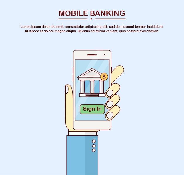 Mobile online banking. transazione di denaro, concetto di tecnologia aziendale. pagamento con smart phone. la mano tiene il telefono bianco isolato Vettore Premium