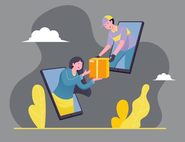 Contanti online mobile sul concetto di illustrazione di consegna Vettore Premium