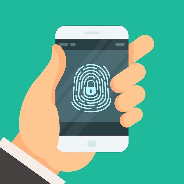 Telefono cellulare sbloccato con pulsante impronta digitale - autorizzazione password dello smartphone Vettore Premium
