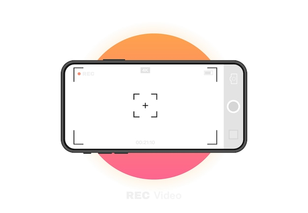 Telefono cellulare con fotocamera da record. modello del mirino. fotogramma di registrazione video con risoluzione del telefono k. schermata di registrazione video. grafico . Vettore Premium