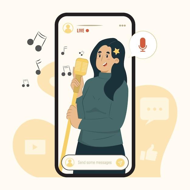 Il concetto di streaming mobile canta un'illustrazione di una canzone Vettore Premium