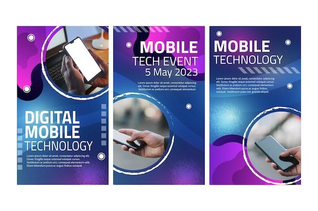 Storie di instagram di tecnologia mobile Vettore Premium