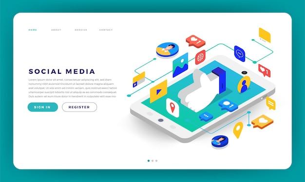 Mock-up design sito web design piatto concetto social media applicazione mobile Vettore Premium