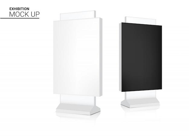 Mock up realistico roll up banner kiosk stand di visualizzazione per la vendita di marketing promozione Vettore Premium
