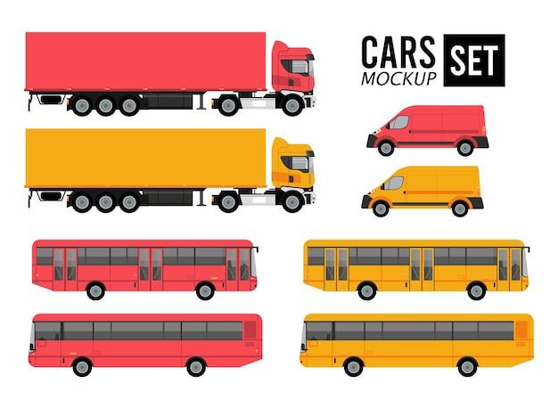 Mockup imposta colori auto veicoli trasporto Vettore Premium