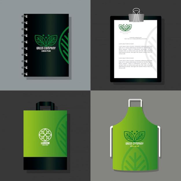 Forniture di cancelleria mockup colore verde con foglie di segno, identità aziendale Vettore Premium