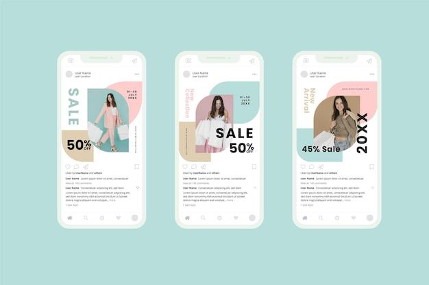 Collezione di social media modello vendita organica Vettore Premium