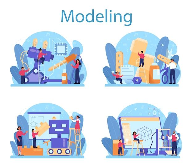 Insieme di concetto di materia scolastica di modellazione. ingegneria, artigianato e costruzioni. idea di tecnologia futuristica, modellistica, robotica. Vettore Premium
