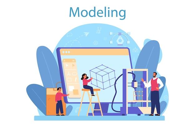 Modellazione del concetto di materia scolastica. Vettore Premium